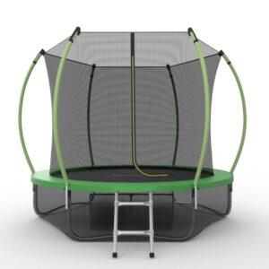 12 - EVO JUMP Internal 10ft (Green) + Lower net. Батут с внутренней сеткой и лестницей, диаметр 10ft (зеленый) + нижняя сеть.