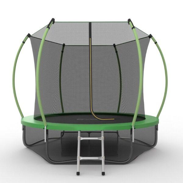 1 - EVO JUMP Internal 10ft (Green) + Lower net. Батут с внутренней сеткой и лестницей, диаметр 10ft (зеленый) + нижняя сеть.