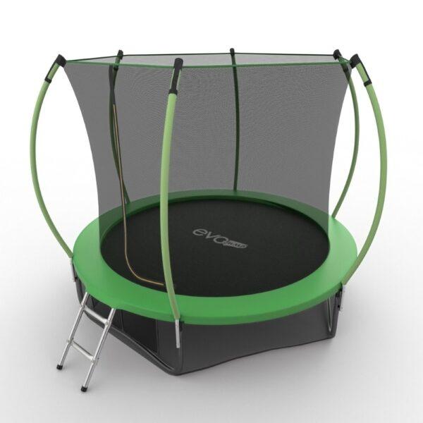 2 - EVO JUMP Internal 10ft (Green) + Lower net. Батут с внутренней сеткой и лестницей, диаметр 10ft (зеленый) + нижняя сеть.