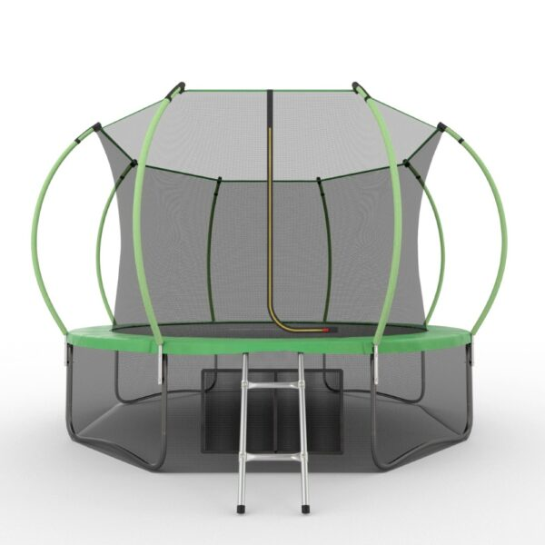 1 - EVO JUMP Internal 12ft (Green) + Lower net. Батут с внутренней сеткой и лестницей, диаметр 12ft (зеленый) + нижняя сеть.