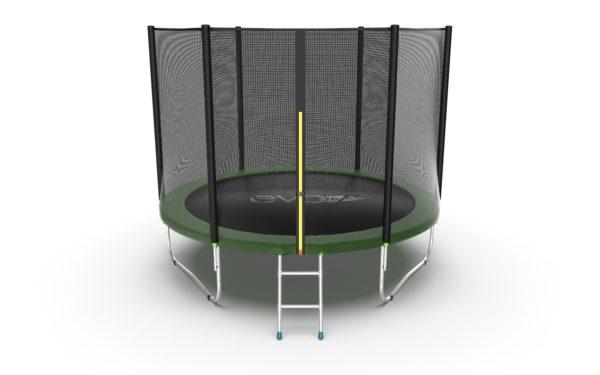1 - EVO JUMP External 10ft (Green) Батут с внешней сеткой и лестницей, диаметр 10ft (зеленый).