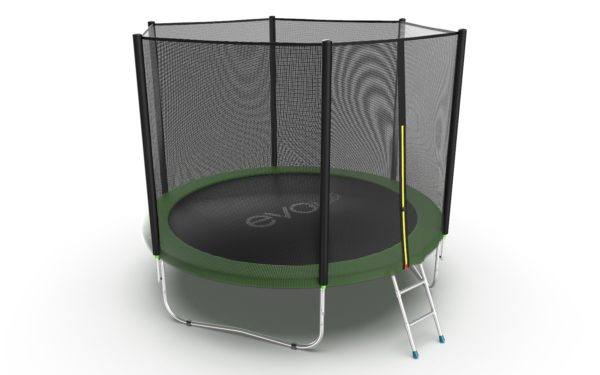 3 - EVO JUMP External 10ft (Green) Батут с внешней сеткой и лестницей, диаметр 10ft (зеленый).