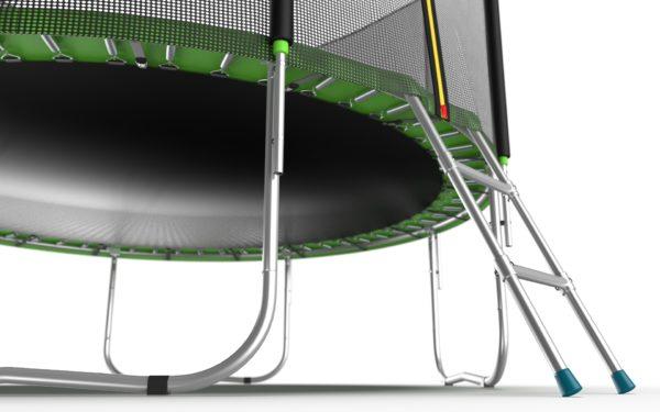 2 - EVO JUMP External 10ft (Green) Батут с внешней сеткой и лестницей, диаметр 10ft (зеленый).