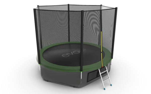 4 - EVO JUMP External 10ft (Green) + Lower net. Батут с внешней сеткой и лестницей, диаметр 10ft (зеленый) + нижняя сеть.