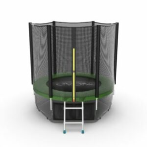8 - EVO JUMP External 6ft (Green) + Lower net. Батут с внешней сеткой и лестницей, диаметр 6ft (зеленый) + нижняя сеть.
