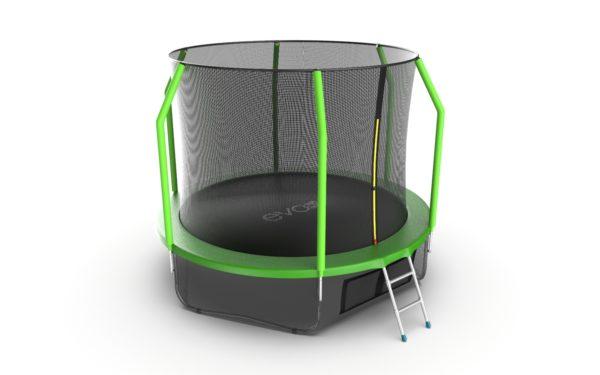 4 - EVO JUMP Cosmo 10ft (Green) + Lower net. Батут с внутренней сеткой и лестницей, диаметр 10ft (зеленый) + нижняя сеть.