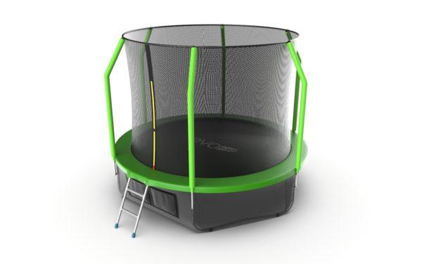3 - EVO JUMP Cosmo 10ft (Green) + Lower net. Батут с внутренней сеткой и лестницей, диаметр 10ft (зеленый) + нижняя сеть.