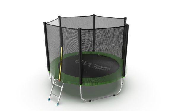 Батут с внешней сеткой и лестницей EVO JUMP External 8ft (Green)