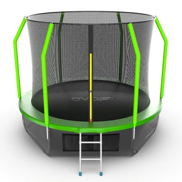 1 - EVO JUMP Cosmo 10ft (Green) + Lower net. Батут с внутренней сеткой и лестницей, диаметр 10ft (зеленый) + нижняя сеть.