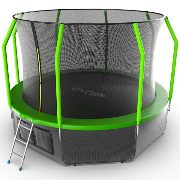 2 - EVO JUMP Cosmo 12ft (Green) + Lower net. Батут с внутренней сеткой и лестницей, диаметр 12ft (зеленый) + нижняя сеть.