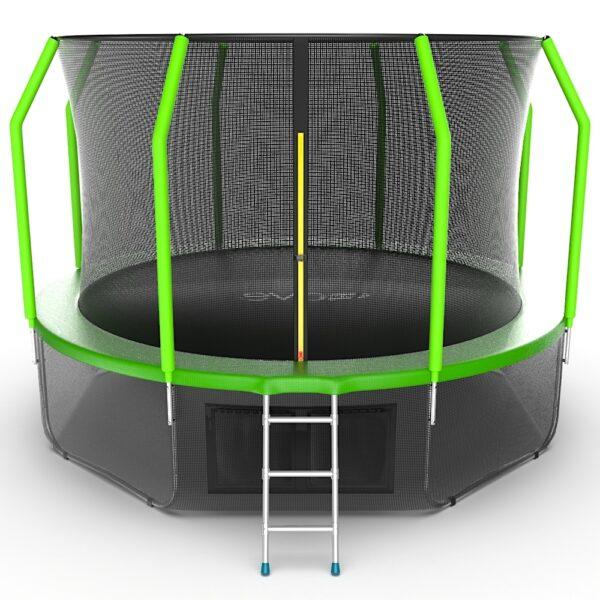 1 - EVO JUMP Cosmo 12ft (Green) + Lower net. Батут с внутренней сеткой и лестницей, диаметр 12ft (зеленый) + нижняя сеть.