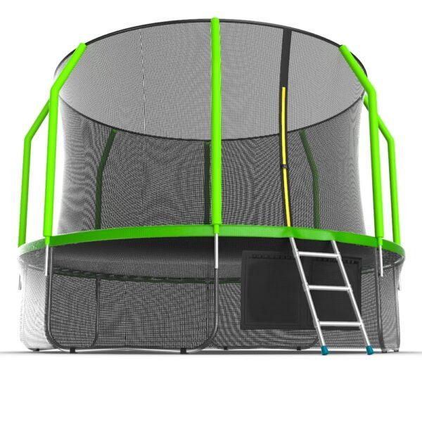 3 - EVO JUMP Cosmo 12ft (Green) + Lower net. Батут с внутренней сеткой и лестницей, диаметр 12ft (зеленый) + нижняя сеть.