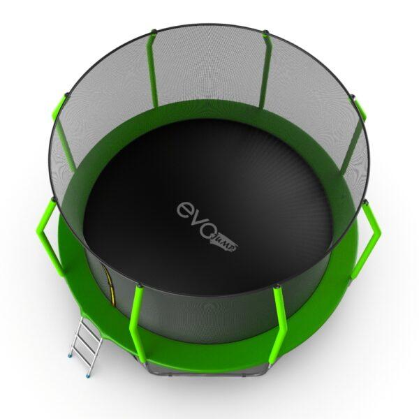 4 - EVO JUMP Cosmo 12ft (Green) + Lower net. Батут с внутренней сеткой и лестницей, диаметр 12ft (зеленый) + нижняя сеть.