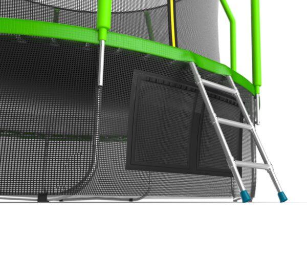 5 - EVO JUMP Cosmo 12ft (Green) + Lower net. Батут с внутренней сеткой и лестницей, диаметр 12ft (зеленый) + нижняя сеть.