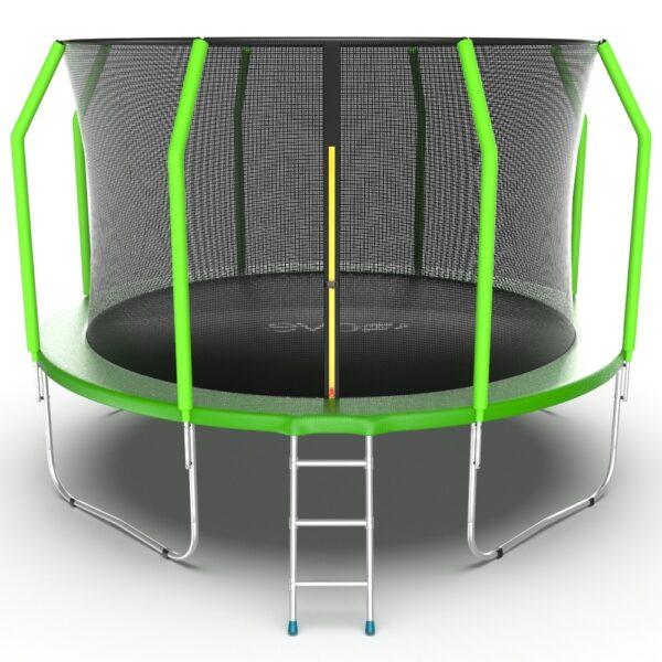 1 - EVO JUMP Cosmo 12ft (Green) Батут с внутренней сеткой и лестницей, диаметр 12ft (зеленый).