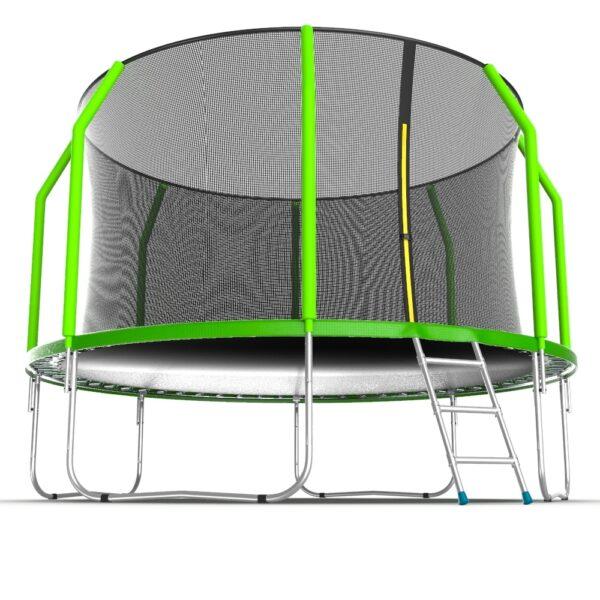 3 - EVO JUMP Cosmo 12ft (Green) Батут с внутренней сеткой и лестницей, диаметр 12ft (зеленый).