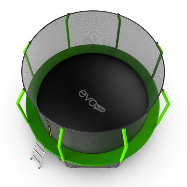 4 - EVO JUMP Cosmo 12ft (Green) Батут с внутренней сеткой и лестницей, диаметр 12ft (зеленый).