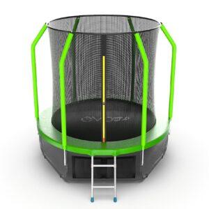 8 - EVO JUMP Cosmo 6ft (Green) + Lower net. Батут с внутренней сеткой и лестницей, диаметр 6ft (зеленый) + нижняя сеть.