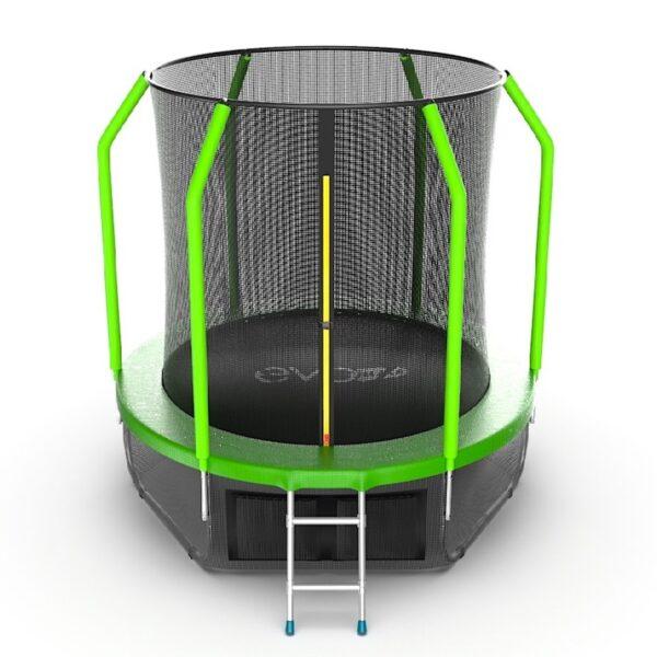 1 - EVO JUMP Cosmo 6ft (Green) + Lower net. Батут с внутренней сеткой и лестницей, диаметр 6ft (зеленый) + нижняя сеть.