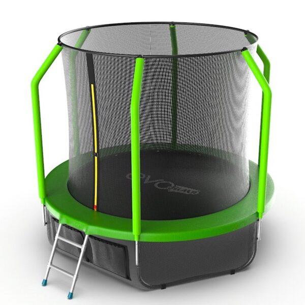1 - EVO JUMP Cosmo 8ft (Green) + Lower net. Батут с внутренней сеткой и лестницей, диаметр 8ft (зеленый) + нижняя сеть.