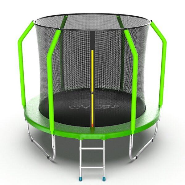 1 - EVO JUMP Cosmo 8ft (Green) Батут с внутренней сеткой и лестницей, диаметр 8ft (зеленый).