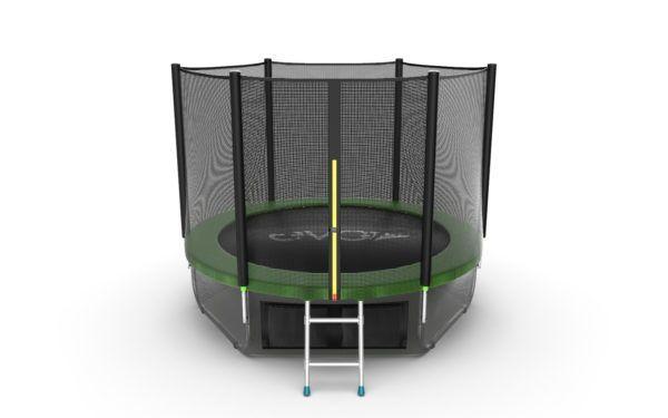 1 - EVO JUMP External 10ft (Green) + Lower net. Батут с внешней сеткой и лестницей, диаметр 10ft (зеленый/синий) + нижняя сеть.