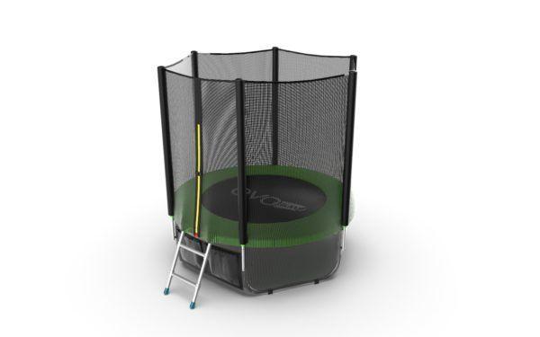 EVO JUMP External 6ft (Green) + Lower net. Батут с внешней сеткой и лестницей, диаметр 6ft (зеленый/синий) + нижняя сеть