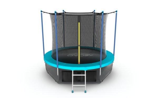 EVO JUMP Internal 10ft (Wave).Батут с внутренней сеткой и лестницей, диаметр 10ft (морская волна) + нижняя сеть