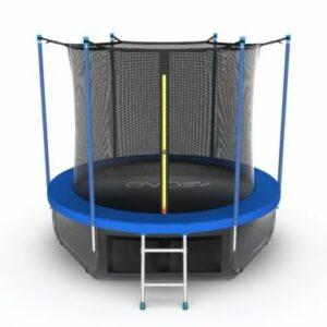 4 - EVO JUMP Internal 6ft (Sky). Батут с внутренней сеткой и лестницей, диаметр 6ft (синий) + нижняя сеть.