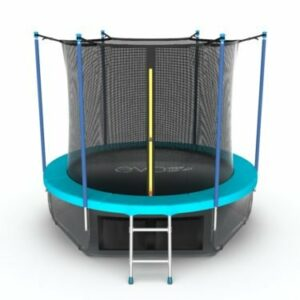 3 - EVO JUMP Internal 6ft (Wave). Батут с внутренней сеткой и лестницей, диаметр 6ft (морская волна) + нижняя сеть.
