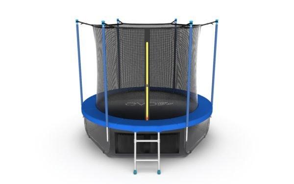 1 - EVO JUMP Internal 8ft (Sky). Батут с внутренней сеткой и лестницей, диаметр 8ft (синий) + нижняя сеть.