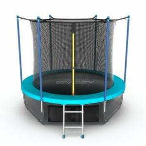 10 - EVO JUMP Internal 8ft (Wave). Батут с внутренней сеткой и лестницей, диаметр 8ft (морская волна) + нижняя сеть.