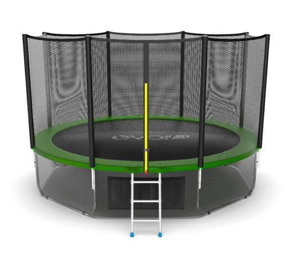 1 - EVO JUMP External 12ft (Green) + Lower net. Батут с внешней сеткой и лестницей, диаметр 12ft (зеленый/синий) + нижняя сеть.