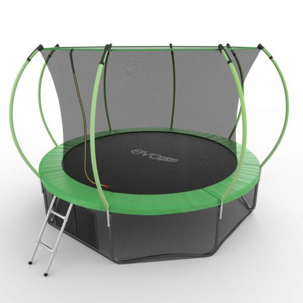 2 - EVO JUMP Internal 12ft (Green) + Lower net. Батут с внутренней сеткой и лестницей, диаметр 12ft (зеленый) + нижняя сеть.