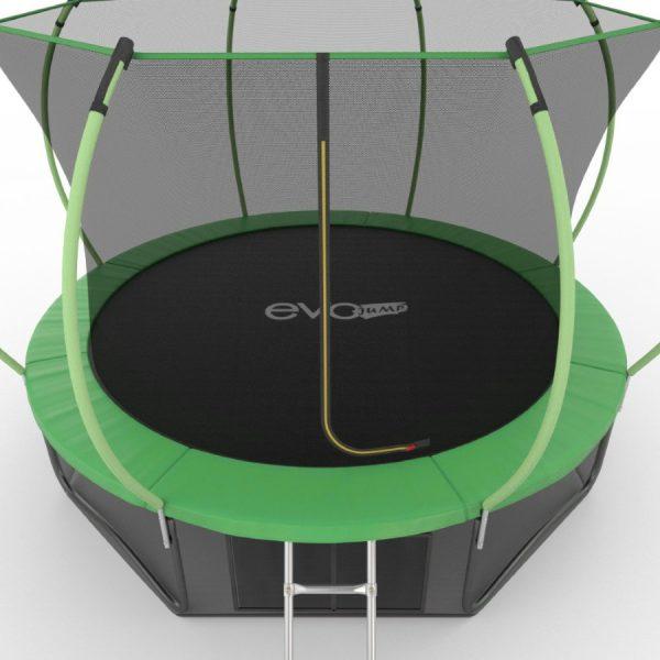 3 - EVO JUMP Internal 12ft (Green) + Lower net. Батут с внутренней сеткой и лестницей, диаметр 12ft (зеленый) + нижняя сеть.