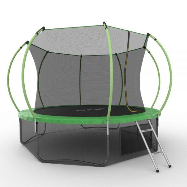 4 - EVO JUMP Internal 12ft (Green) + Lower net. Батут с внутренней сеткой и лестницей, диаметр 12ft (зеленый) + нижняя сеть.