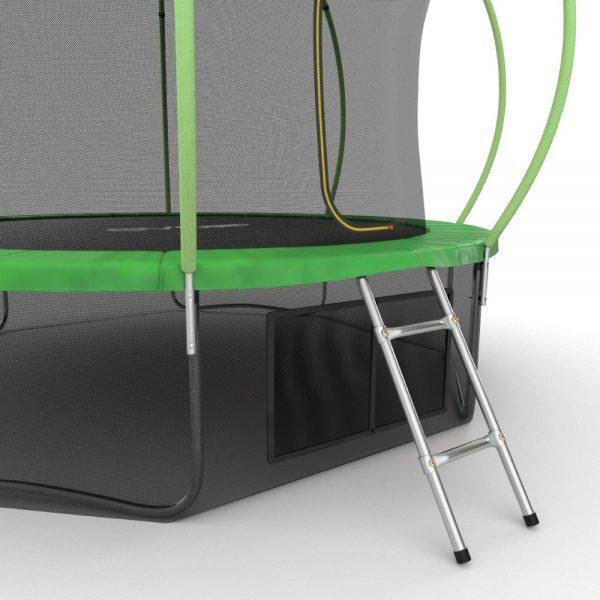 5 - EVO JUMP Internal 12ft (Green) + Lower net. Батут с внутренней сеткой и лестницей, диаметр 12ft (зеленый) + нижняя сеть.