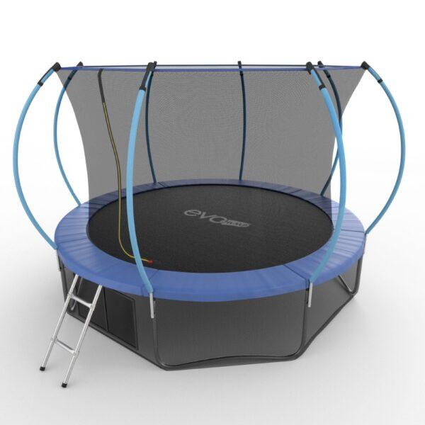 2 - EVO JUMP Internal 12ft (Blue) + Lower net. Батут с внутренней сеткой и лестницей, диаметр 12ft (синий) + нижняя сеть.