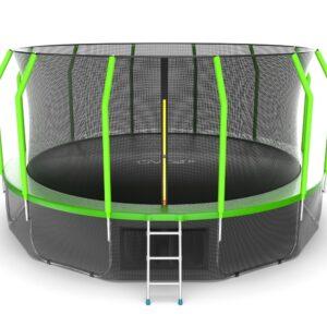 15 - EVO JUMP Cosmo 16ft (Green) + Lower net. Батут с внутренней сеткой и лестницей, диаметр 16ft (зеленый) + нижняя сеть.