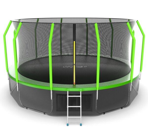 1 - EVO JUMP Cosmo 16ft (Green) + Lower net. Батут с внутренней сеткой и лестницей, диаметр 16ft (зеленый) + нижняя сеть.
