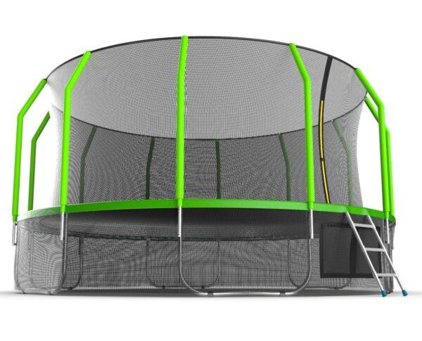 2 - EVO JUMP Cosmo 16ft (Green) + Lower net. Батут с внутренней сеткой и лестницей, диаметр 16ft (зеленый) + нижняя сеть.