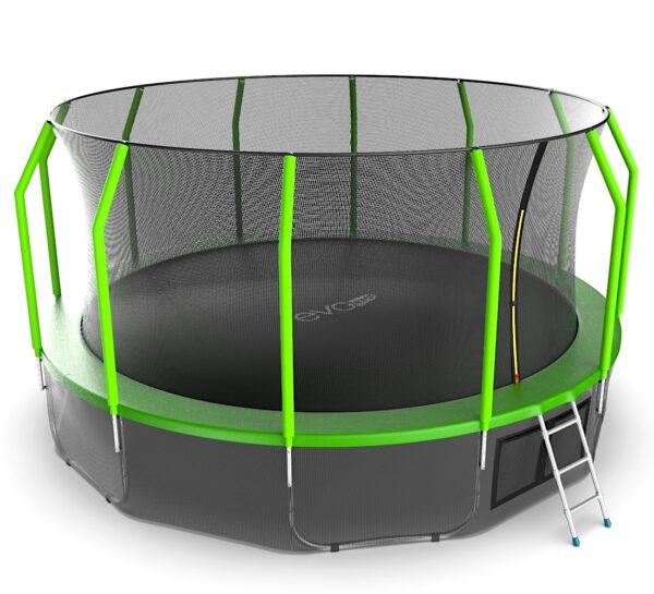 3 - EVO JUMP Cosmo 16ft (Green) + Lower net. Батут с внутренней сеткой и лестницей, диаметр 16ft (зеленый) + нижняя сеть.