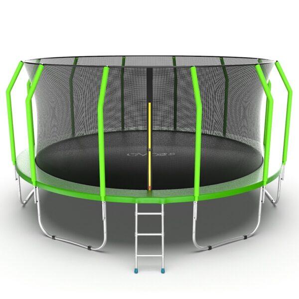1 - EVO JUMP Cosmo 16ft (Green) Батут с внутренней сеткой и лестницей, диаметр 16ft (зеленый).