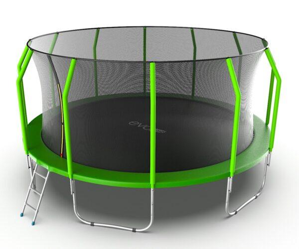 2 - EVO JUMP Cosmo 16ft (Green) Батут с внутренней сеткой и лестницей, диаметр 16ft (зеленый).