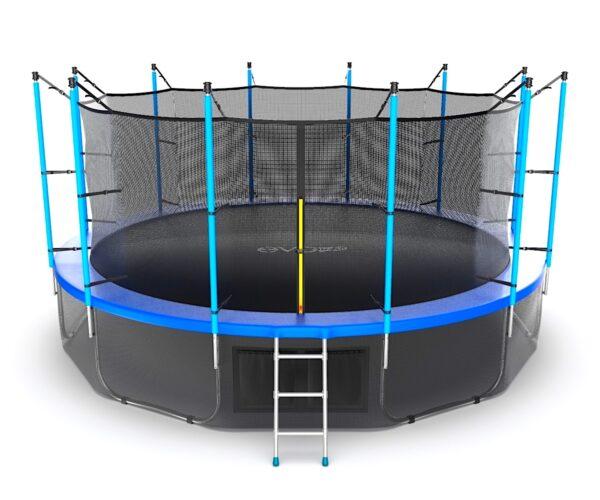 1 - EVO JUMP Internal 16ft (Blue) + Lower net. Батут с внутренней сеткой и лестницей, диаметр 16ft (синий) + нижняя сеть.