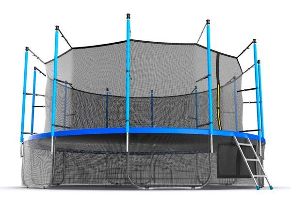 2 - EVO JUMP Internal 16ft (Blue) + Lower net. Батут с внутренней сеткой и лестницей, диаметр 16ft (синий) + нижняя сеть.