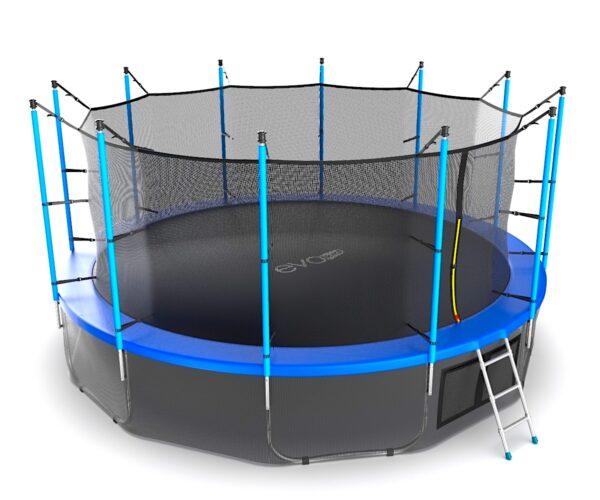 4 - EVO JUMP Internal 16ft (Blue) + Lower net. Батут с внутренней сеткой и лестницей, диаметр 16ft (синий) + нижняя сеть.