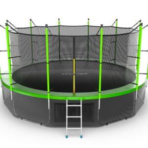 10 - EVO JUMP Internal 16ft (Green) + Lower net. Батут с внутренней сеткой и лестницей, диаметр 16ft (зеленый) + нижняя сеть.