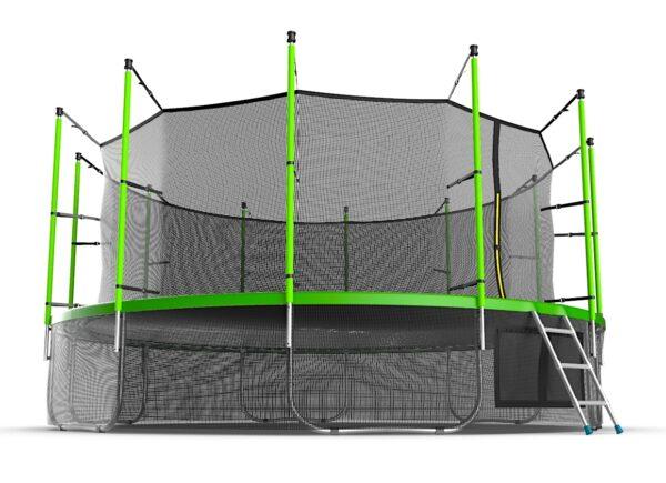 2 - EVO JUMP Internal 16ft (Green) + Lower net. Батут с внутренней сеткой и лестницей, диаметр 16ft (зеленый) + нижняя сеть.
