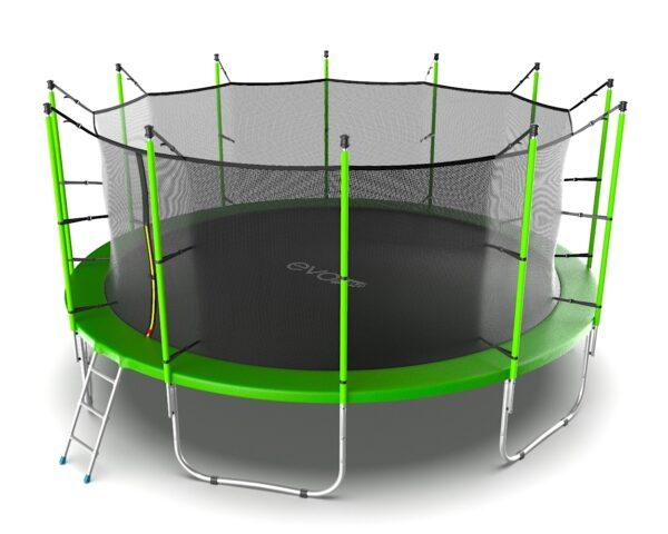 4 - EVO JUMP Internal 16ft (Green) Батут с внутренней сеткой и лестницей, диаметр 16ft (зеленый).